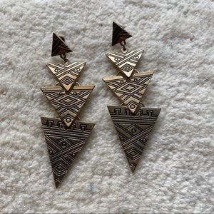 Gold Aztec Triangle Earrings